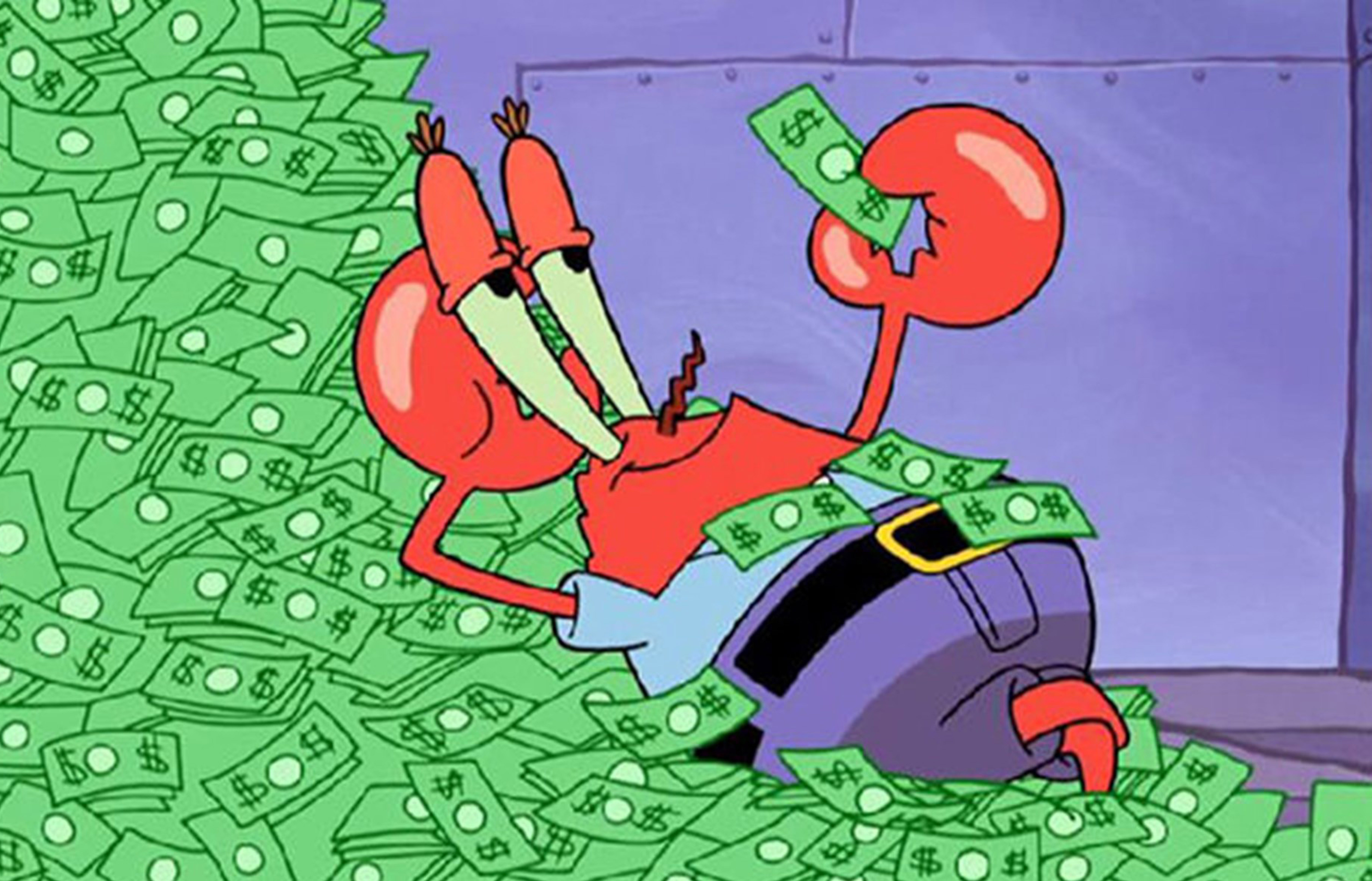 mr krabs saving money